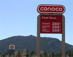 Gas prices in Estes Park on Thurday afternoon.